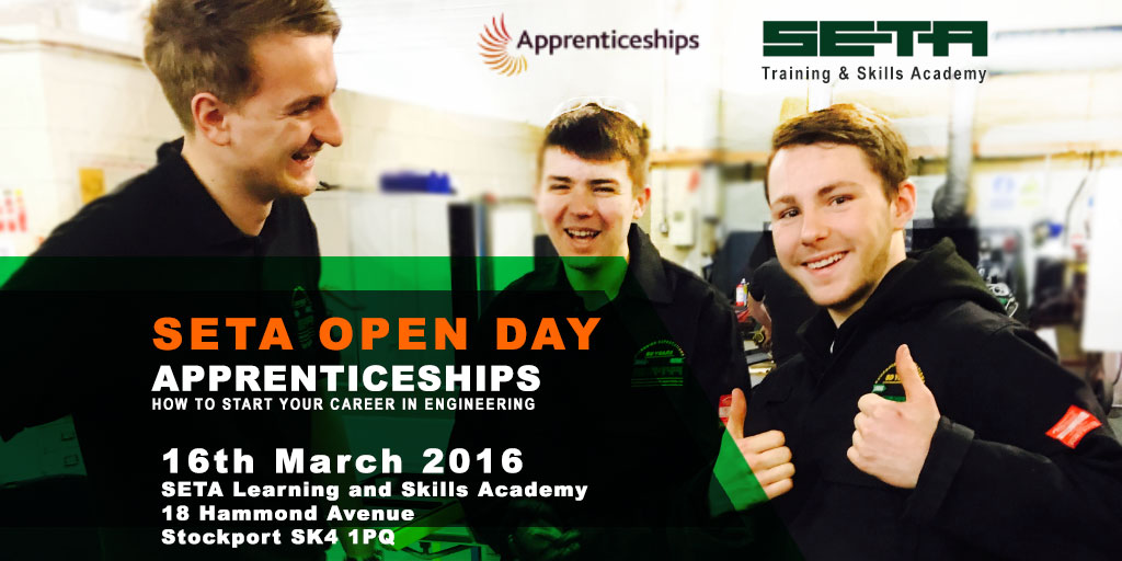 You are invited! SETA Stockport hosts Apprenticeships Open Day #NAW2016